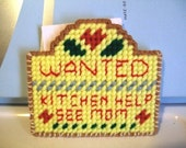 Wanted: Mother's Helper - Fridge Magnet with red lettering