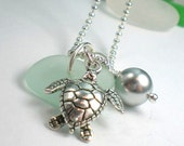 Sea Glass Jewelry: Seafoam Beach Glass  Honu Necklace