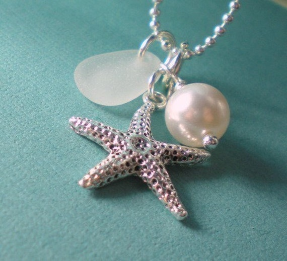 Starfish Sea Glass Pearl Necklace