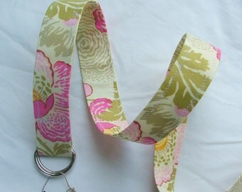 D Ring Belt, blue, .Amy Butler fresh poppies in fuschia, S/M, ready to ship