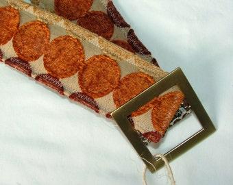 Womens Belt, Reversible Belt, gold sparkle and funky orange dots , size M/L