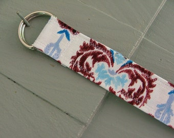 D Ring Belt, summer ikat in blue and brown, S/M, ready to ship