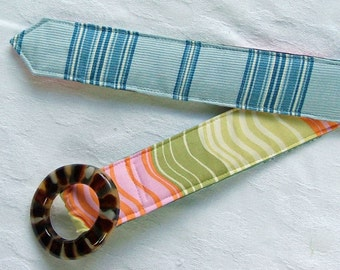 SALE, Women's Belt, Reversible Belt,  Blue Stripe and Amy Butler Wave, S\/M