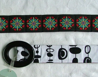 Womens Belt, Starbursts of Red, green and blue on black, reversible belt, s\/m