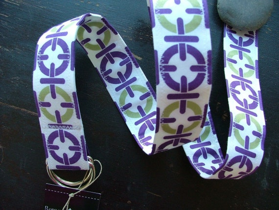 Sale, D Ring Belt, chain link in purple and lime, m/l