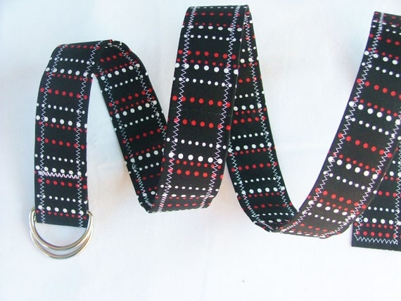 D Ring Belt, red, black and white, M/L