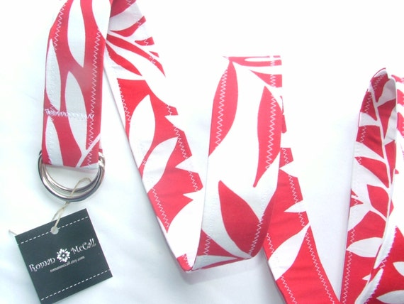 D Ring Belt, red and white leaf, S/M