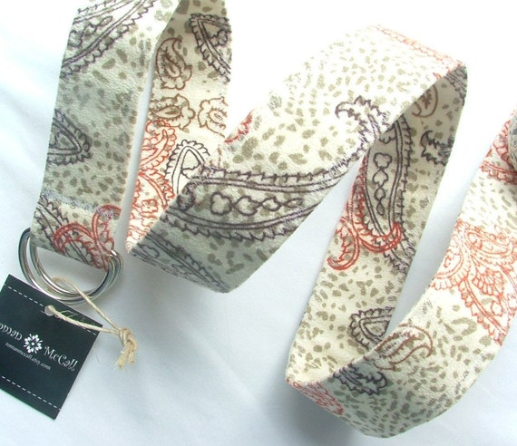 D Ring Belt,soft paisley suede, M/L, womens belt, ready to ship