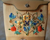 Vintage 1960's Floral Beaded Bucket Bag with Gold Trim and Ladybug - Wooden Bottom