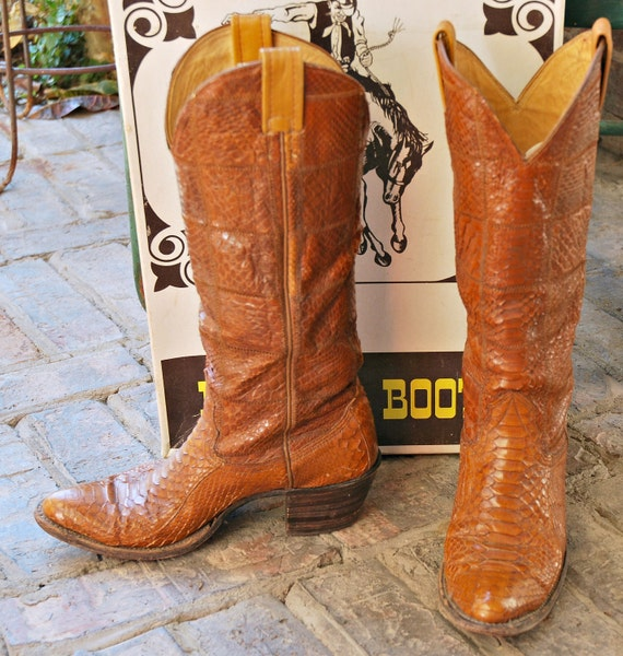 Vintage Nocona Reptile Boots With Original Box And Boot