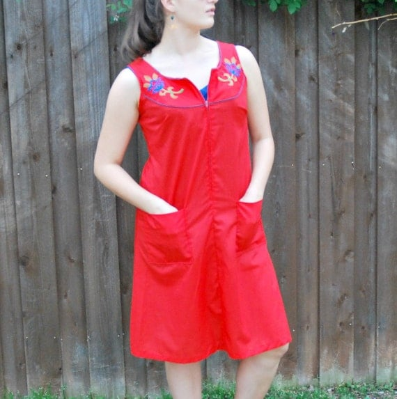 1970's Red Cotton Day Dress, House Coat, Swim Cover with Embroidered Flowers