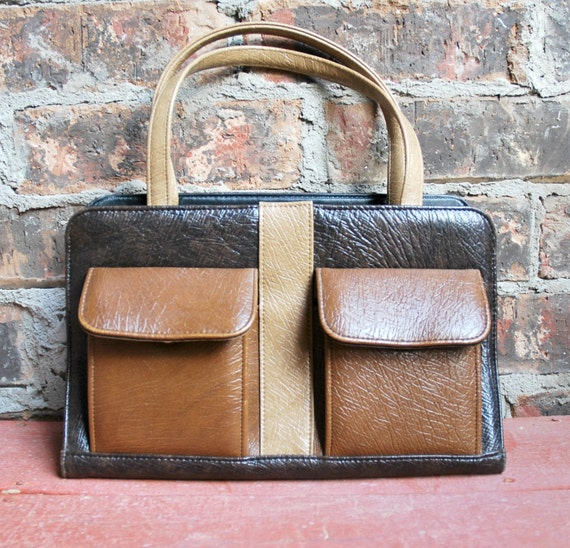 1950's Satchel Bag in Shades of Brown - Faux Leather