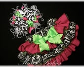 The Anna Leigh Fancy Pants Ruffled Diaper Cover in Damask and Raspberry and Lime Tulle with Matching Hairbow Photo Prop