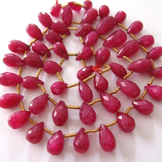 Genuine Ruby Faceted 9MM x 5MM Teardrop Briolettes --- 6 Pieces