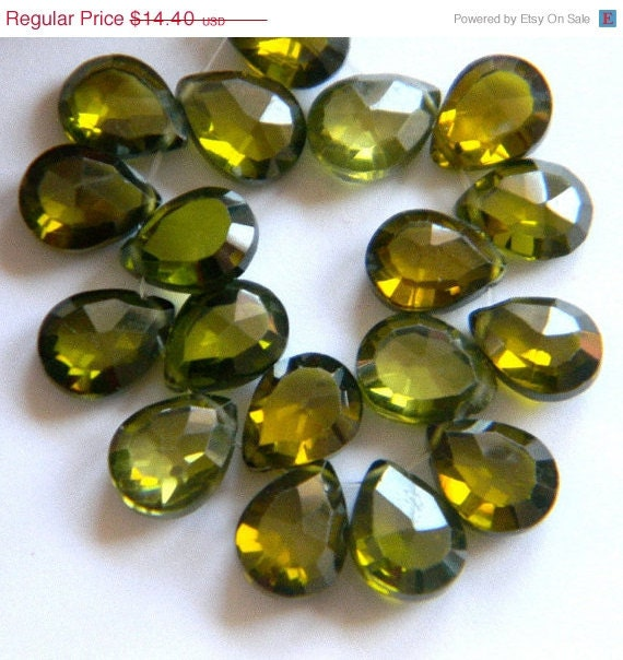22% SALE --- Peridot Olive Cubic Zircon 8MM X 6Mm Faceted Teardrop Briolettes---8 Stones - Half Strand
