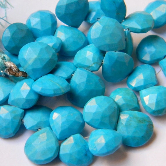 Stunning Genuine Arizona Sleeping Beauty Turquoise 12MM X 12Mm Faceted Heart Briolettes - 8 Pieces - Gemstone Beads - Beads