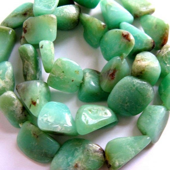 Chrysoprase 15MM x 11MM Smooth Polished Freeform Nuggets --- 18 Stones - 8 Inch Strand - Gemstone Beads - Reduced From 19.70 To 14.70