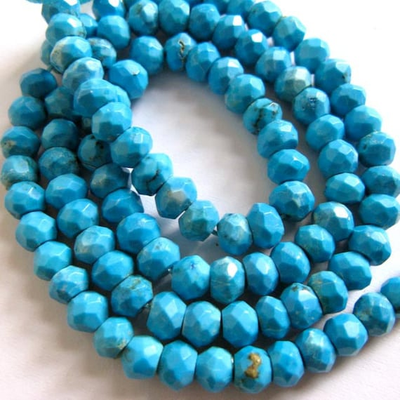 Sleeping Beauty Turquoise 5MM Faceted Rondells - 25 Stones - 3.5 Inch Strand - Gemstone Beads - Reduced From 31.20 To 18.70