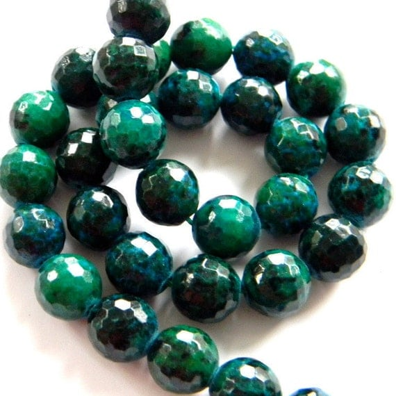 Chrysocolla 11MM Faceted Disco Balls --- 12 Stones - Half Strand - Gemstone Beads - Reduced From 18.70