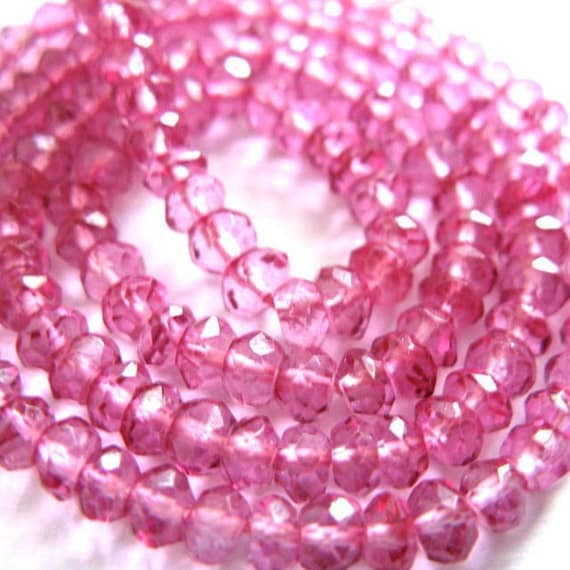Flamingo Pink Quartz 3MM Micro Faceted Rondells --- 7 Inch Stand - Beads - Gemstone Beads