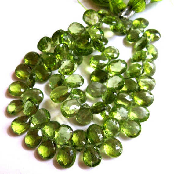 Stunning Peridot 8MM X 6MM Faceted Teardrop Briolettes --- 4 Stones - Gemstone Beads