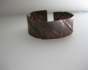 Copper Fold Form Cuff Bracelet 808