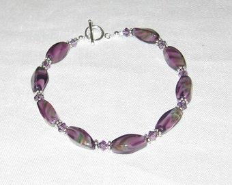Swarovski Crystal  and Purple Beaded Bracelet - 276