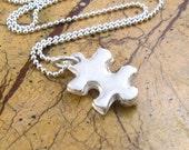 Autism Puzzle Piece Necklace Special Education Teacher Appreciation Necklace PMC Fine Silver Artisan Pendant Sterling Silver Necklace