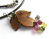 Tourmaline Necklace Copper Leaf Forged Metal Autumn Harvest Necklace Grape Leaf Necklace
