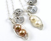 A Pea In The Pod Necklace Pearl And Pendant With Initial Necklace PMC Pea Pod Pendant Mothers Necklace
