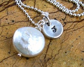 White Coin Pearl Necklace Silver Initial Necklace Personalized Jewelry White Coin Pearl Bridesmaids Jewelry