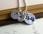 Pet Owner Necklace Silver Dog Necklace Personalized Initial Necklace Silver Dog Paw Necklace Gift For Cat or Dog Owner