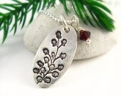 Winter Berry Necklace Holiday Jewelry Silver Christmas Necklace Winter Wedding Woodland Necklace Gift Under 50 PMC Jewelry