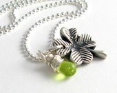 St. Patrick's Day Four Leaf Clover Necklace Silver Garden Necklace Peridot Green Czech Glass Crystal PMC
