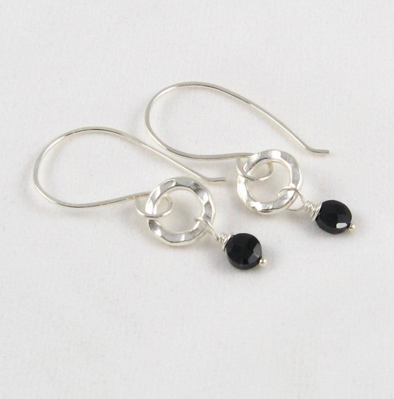 Hill Tribe Silver Spinel Earrings Sterling Silver Hand Hammered Earring Hooks