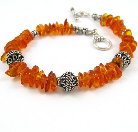 SALE Amber Bracelet Bali Silver and Amber Bracelet Balic Amber Bracelet Golden Honey Amber Chips