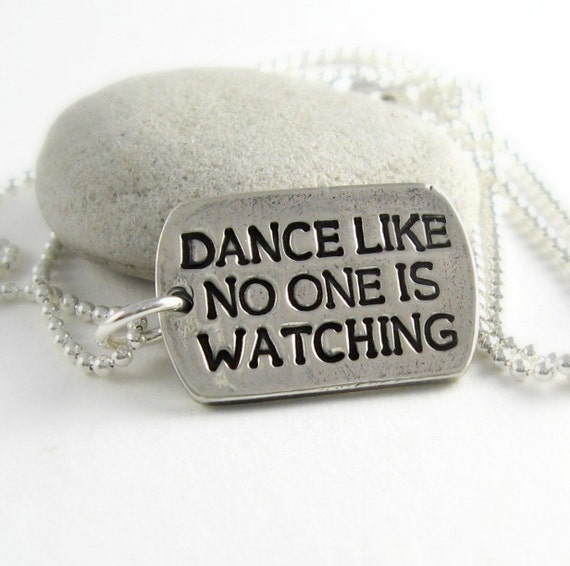 dance like no one is watching silver dog tag by newhopebeading
