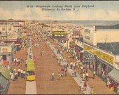 Wildwood By-the-Sea, New Jersey Vintage Postcard - Boardwalk looking North from Playland