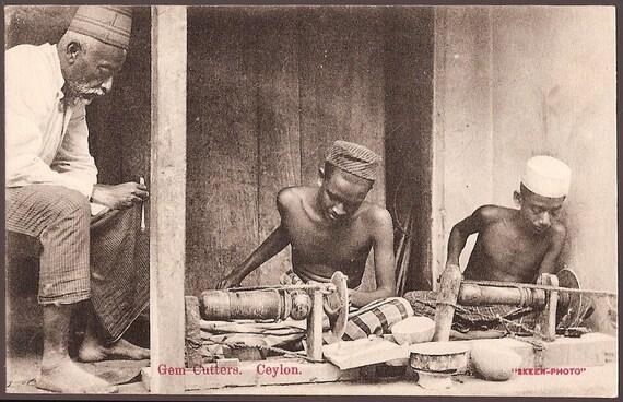 Vintage Ceylon Sri Lanka Postcard - Primitive Gem Cutters