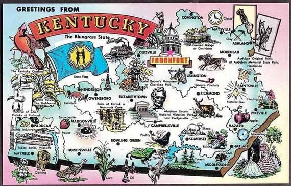 Kentucky Vintage Map Postcard Greetings from Kentucky