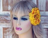 Exquisite Huge Yellow Marigold Fascinator Clip by mojo indigo