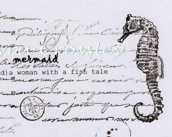 Mermaid Dictionary Seahorse Illustration. Digital, Download, White, Marine, script, postcard, instant, transfer, beach, seaside, 312/ICS