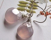 Chalcedony Earrings, handmade.  Pink, Dove Grey. Two Turtle Doves.