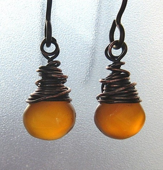 Chalcedony Earrings, handmade. Burnt Orange.  Creme Caramel.