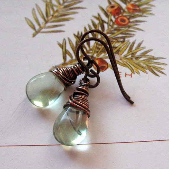 Fluorite Earrings, Handmade. Pale Green. Fiona's Tiny Tears.