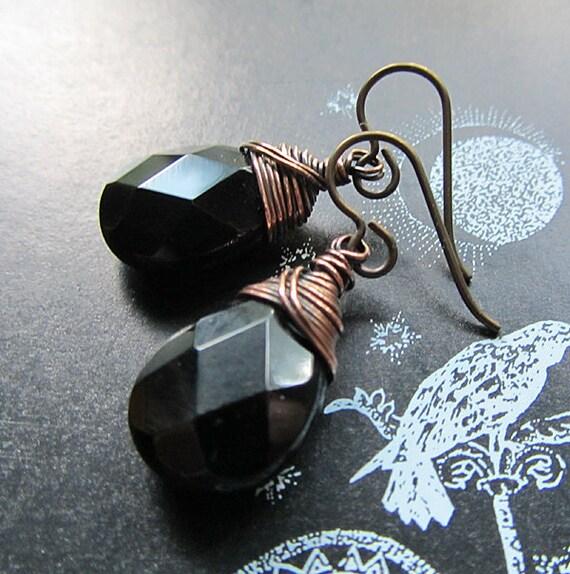 Black Onyx Earrings, Handmade. Deidre's Dark Desires.