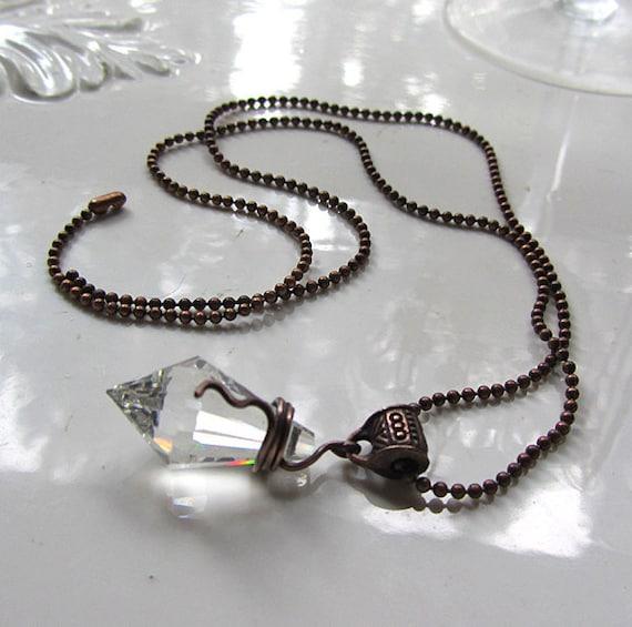 Leaded Crystal Pendulum Necklace. Branwen's Tiny Pendulum.
