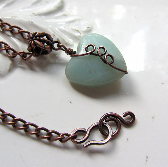 Amazonite Necklace, handmade. Pale Blue. Piece of My Heart.