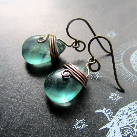 Fluorite Earrings, handmade. Teal, Lilac. Fiona's Delights.