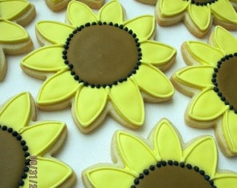SUNFLOWER SUGAR COOKIES, 12 Decorated Sugar Cookie Favors